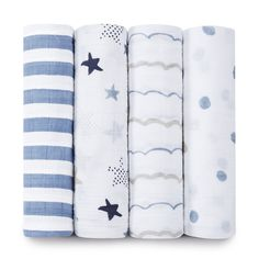 aden + anais Classic Muslin Swaddling Blankets, 4-pack - Rock Star - One Size - 4 pk