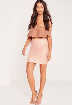 Missguided - Frill Bardot Crop Top Nude
