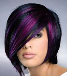 Bold and Awesome!! short hair, purple hair, hair colors, bob, dark hair, color combos, black hair, violet, highlight