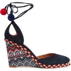 Aquazzura - Palm Beach Embroidered Wedge Espadrilles (5.250 ARS) ❤ liked on Polyvore featuring shoes, sandals, navy, wedge espadrilles, navy sandals, espadrille wedge sandals, wedge sandals and navy blue sandals