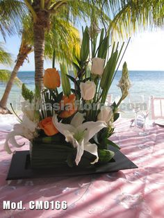 #white roses and lilies with #orange roses #wedding #centerpiece