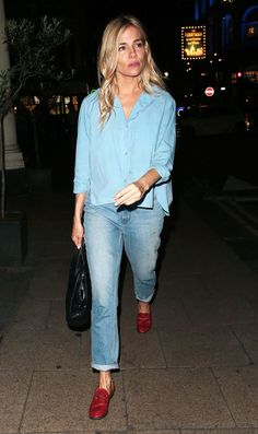 Sienna Miller Jeans and shirt and Gucci loafers