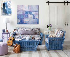 Blue wicker furniture in a living room