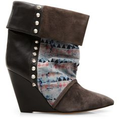 Isabel Marant Kate print and stud leather boot ($890) ❤ liked on Polyvore