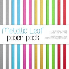 Scrapbook Paper: Metallic Leaf Paper Pack 2 - Free Pretty Things For You