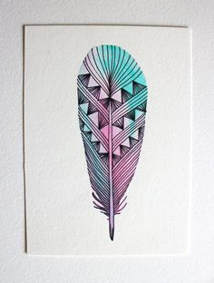 Feather Art - Watercolor Painting - Neon Spring Archival Print. $20.00, via Etsy.