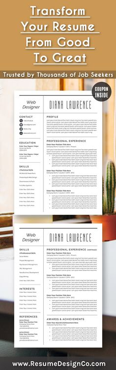 Resume Template - CV Template - Free Cover Letter - MS Word on Mac - post a resume