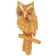 Preowned Cartier Ruby Gold Owl Brooch (715.000 RUB) ❤ liked on Polyvore featuring jewelry, brooches, multiple, gold feather jewelry, gold brooch, 18k gold jewellery, owl jewelry and 18 karat gold jewelry