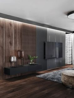 This accent lighting helps establish the wall as a focal point. It may help with practical things but it is mainly to draw attention to the wall. Modern Tv Room, Modern Bedroom Design, Living Room Modern, Home Living Room, Home Interior Design, Apartment Interior, Living Room Interior, Tv Wall Design, House Design