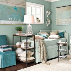 wall/chair color - shades of turquoise/teal