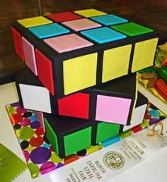 Rubik Cube cake---the nerd in me loves this cake (and the pastry chef in me is impressed with how cleanly the square cakes are covered.)