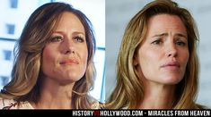 Christy Beam and Jennifer Garner. The actress portrays Christy in the Miracles from Heaven movie. See more pics here: http://www.historyvshollywood.com/reelfaces/miracles-from-heaven/