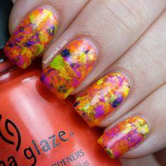 Lucy's Stash: Summer Splatter manicure with China Glaze Summer Neons