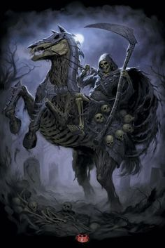 Death Rider by James Ryman - death, rider - Art of Fantasy Grim Reaper Art, Grim Reaper Tattoo, Don't Fear The Reaper, Dark Fantasy Art, Dark Art, Arte Cholo, Horsemen Of The Apocalypse, Creation Art, Skull Art