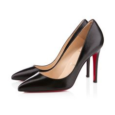"""Named after one of his favorite neighborhoods in Paris, the """"Pigalle"""" is one of Monsieur Louboutin's first highly coveted styles. With her perfectly pointed toe and strong stiletto heel, this 100mm, single sole style is a must-have for Loubie newcomers and collectors alike. Swathed in stunning black leather, your love affair with this iconic pump is sure to last a lifetime."""