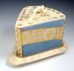 STAFFORDSHIRE COVERED CHEESE DISH: Wedge shaped covered dish, light blue and gold gilt decoration, twig shaped handle Butter Cheese, Butter Dish, Cheese Dome, Cheese Dishes, Wedge, Light Blue, Decorative Boxes, Honey, Collections