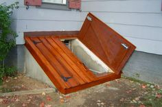 Image result for wooden basement bulkhead & So doing this to ours!!! Also the barrier around the gas meter ...