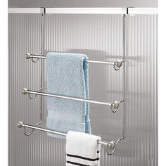 Idesign York 3-Tier Over-The-Door Towel Rack In Brushed Stainless Steel - Add storage space to your bathroom with the York 3-Tier Over-the-Door Towel Rack from iDesign. Featuring elegant metalwork, it has 3 tiered towel bars with finial ends for hanging your favorite towels and can be hung over doors or shower doors.