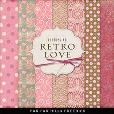New Freebies Background Kit - Retro Love