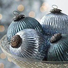 blue mercury glass ornaments