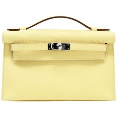 Hermes Kelly Pochette Light Yellow Epsom With Palladium Hardware Hermes Clutch, Hermes Bags, Hermes Handbags, Cheap Handbags, Louis Vuitton Handbags, Fashion Handbags, Purses And Handbags, Ladies Handbags, Suede Handbags