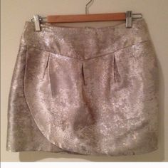 Anthropologie Skirt! Very cute, perfect condition, side zip, silver metallic! Fits between a medium and small Anthropologie Skirts Mini