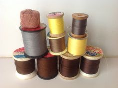 Vintage sewing thread - brown, yello, gray by Mywaycrochet on Etsy