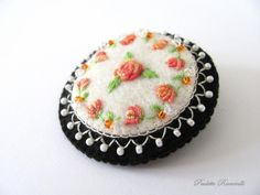 PINCUSHION: Embroidery with Tiny Pearls.