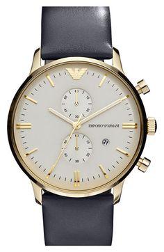 Emporio Armani 'Retro' Leather Strap Watch