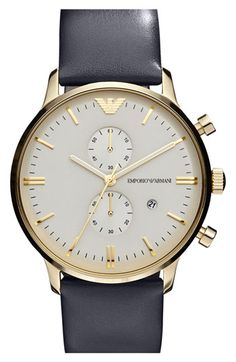 Emporio Armani 'Retro' Leather Strap Watch