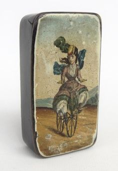 19th c. French papier mache snuff box with lady Velocipede rider.