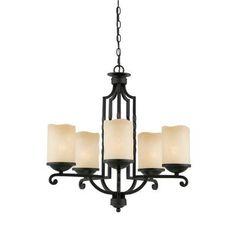 $418.00 Illumine - 5 Light Chandelier Bronze Finish Antiqued Scavo Glass - CLI-TR31413 - Home Depot Canada