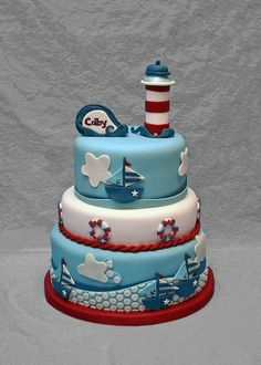 this is a cake! cake Nautical Cake Simple polka dot dress a classic if longer. Fondant Cakes, Cupcake Cakes, Sofia The First Birthday Cake, Boy Birthday, Boat Cake, Nautical Cake, Nautical Party, Sea Cakes, Pink Cakes