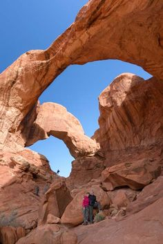 Double Arch in Arches National Park Utah. More pics from Arches National Park at this link:  http://roadslesstraveled.us/arches-national-park-utah-red-rock-bridge-playground/