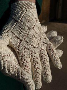 Knitting Patterns Gloves Norwegian Wedding Gloves by Nancy Bush, published in Piecework, Nov/Dec Knitting Traditions, W. Crochet Mittens, Mittens Pattern, Fingerless Mittens, Crochet Gloves, Knitted Hats, Knit Crochet, Wool Gloves, Lace Gloves, Lace Knitting