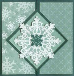 snowflake embossed in white on translucent vellum forms the focal point on this wenter gatefold card...serene & pretty...