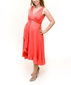 Take a look at this Coral Hope Maternity Hi-Low Dress by Debbi O. Maternity on #zulily today! $74.99