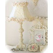 Shabby Chic.  Girls bedroom idea.  Love the lampshade.  Maybe do it in pink or turquoise.