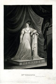 Portrait of Sarah Siddons as Hermione in Shakespeare's 'The Winter's Tale'; whole length, standing, leaning on pedestal, as a statue, looking away to the left; curtains in background; after Hounsom. 1802. BM 1931,0509.149