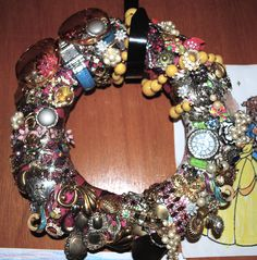 Uses for Old Costume Jewelry   old jewelry wreath