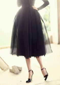 Volume mesh Black Chiffon Net Flared Skirts Pleated Knee Length midi skirts S/M #nobrand #ALine #CasualParty