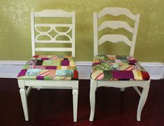 "Upcycle Scrap Fabric Into Patchwork Chair Covers | Made + Remade (Repurposed scrap fabric turned into patchwork!  Heavy weight fabric from retired shirts, jackets & pants work great!  Cut into strips varied from 2"" to 7 "".  )"