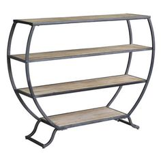 Olympia 3-Tier Rustic Metal and Natural Wood Bookshelf by Crestview Collection | CVFZR2262 | Crestview Collection - Truth In Craft