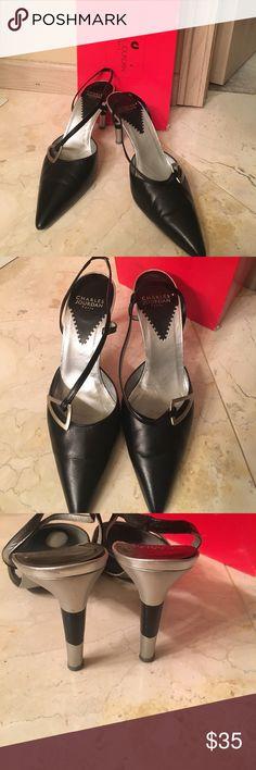 Charles Jourdan Black leather sling back heels Black and silver leather heels made in Paris Charles Jourdan Shoes Heels