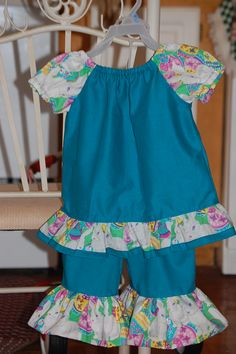 Easter Bunny ruffle pant and peasant shirt set
