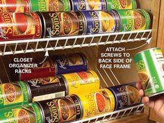 Use closet racks as cabinet organizers. Trim the racks to length with a hacksaw and then mount screws to the back side of the face frame to hold the racks in place. The back side of the rack simply rests against the back of the cabinet. Now you can easily find your soup and check the rest of your inventory at a glance.See more ways to make a small kitchen more efficient at FamilyHandyman.com.