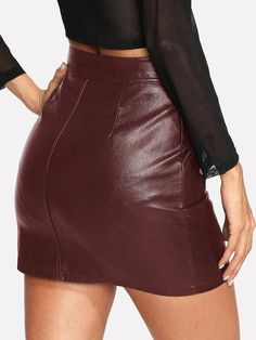 Look Rock, Faux Leather Fabric, Faux Leather Skirt, Black Leather Skirts, Leather Dresses, Black Silhouette, Skirts For Sale, Black Women Fashion, Outfits