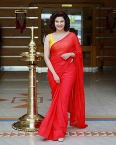 Honey Rose Beautiful HD Photoshoot Stills & Mobile Wallpapers HD - Red Saree, Saree Dress, Beautiful Saree, Beautiful Indian Actress, Beautiful Women, Rose Actress, Honey Rose, Plain Saree, Elegant Saree