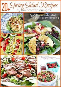 20+ Spring Salad Recipes and Dressings. A great collection for a lighter menu. #saladrecipes #dressingrecipes