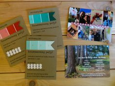 Housewarming party invites! Super cute idea, use the paint swatches you picked our for your interior walls!  housewarming + color swatch + announcement + costco = DIY